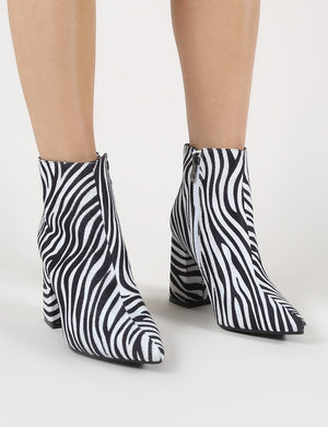 Hollie Pointed Toe Ankle Boots in Zebra Print