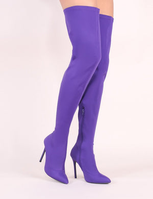 Darin' Over The Knee Boots in Purple Stretch