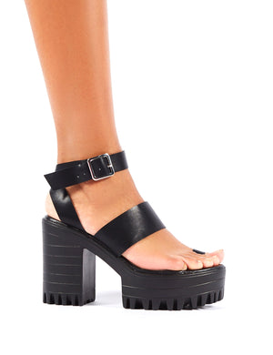 Ibiza Platform Heeled Sandals in Black