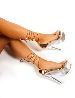 Princess Rose Gold Diamante Lace Up Perspex Platform Stiletto High Heels