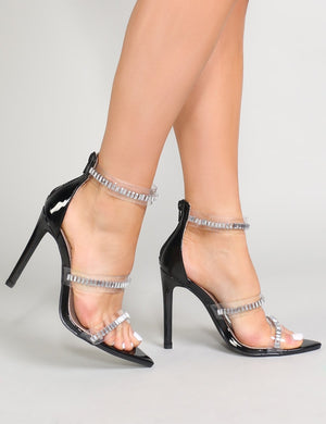 Kali Perspex and Diamante Heels in Black