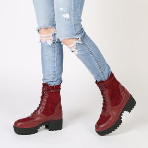 Khloe Chunky Sole Lace Up Ankle Boot in Bordeaux