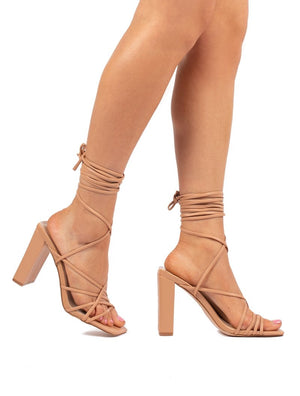Kind Nude Lace Up Strappy Block Heels