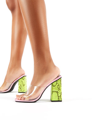 Klaudia Lilac and Neon Green Snake Perspex Square Heeled Mules