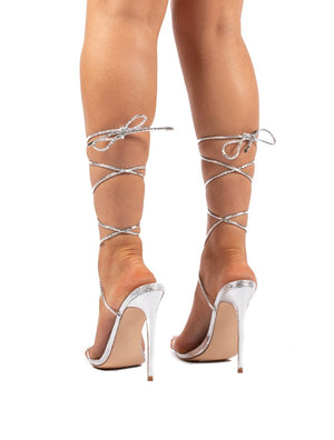 Lush Silver Lace Up Strappy Stiletto Heels