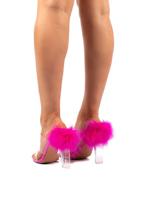 Mariah Pink Feather Perspex Heeled Mule