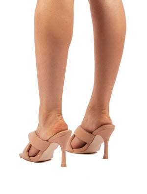 Peachy Nude Padded Twist Heels