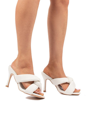 Peachy White Padded Twist Heels