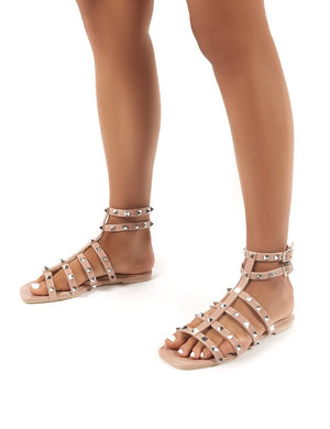 Publicity Wide Fit Nude Stud Detail Strappy Flat Sandals
