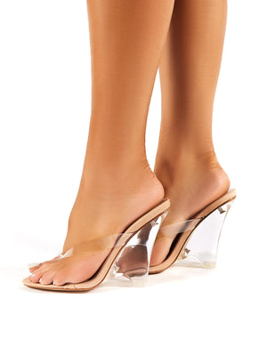 Racy Nude Faux Suede Perspex Toe Post Wedge Heels