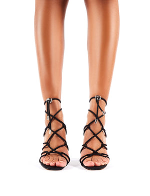 Savvy Strappy Toggle Heels in Black