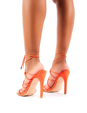 Savvy Strappy Toggle Heels in Orange