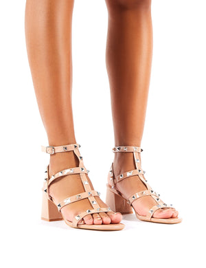 Always Wide Fit Nude Patent Studded Strappy Block Mid Heels