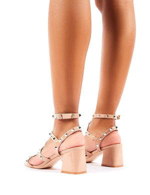 Always Wide Fit Nude Patent Studded Strappy Block Heels