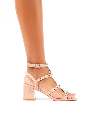 Always Studded Strappy Block Mid Heels in Nude Patent