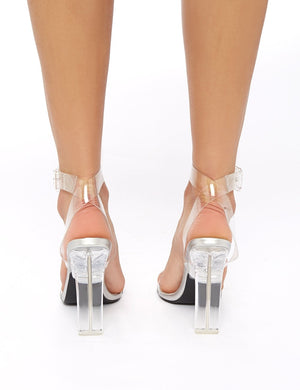 LISSY RODDY x PD Slice Silver Croc Strappy Perspex Heels