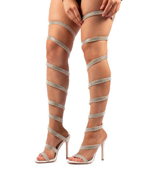 Stunner Diamante White Thigh High Wrap Around High Heels