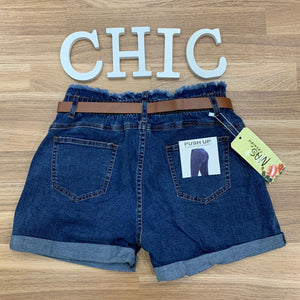 Short denim estilo paper bag push up