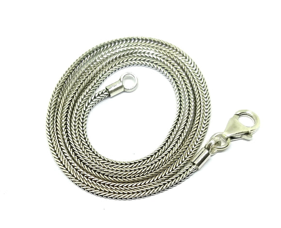 Sterling Silver 1.5mm sq. Bali weave chain 18