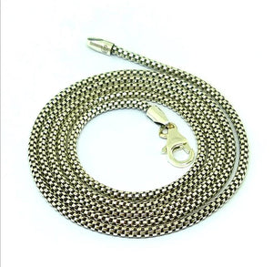 "Sterling Silver round box chain 2mm diameter 26"" long"