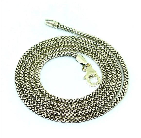Sterling Silver round box chain 2mm diameter 28
