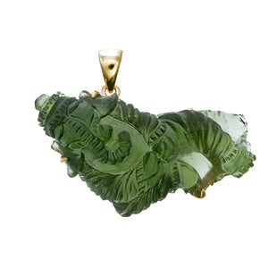 Moldavite Ganesh in 18k gold