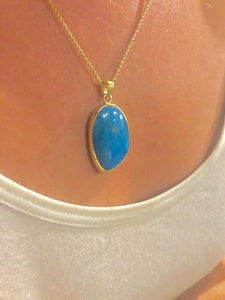 18k gold chrysocolla + 18k gold  chain