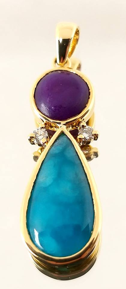 18k Gold Hemimorphite, Sugilite and Diamond pendant