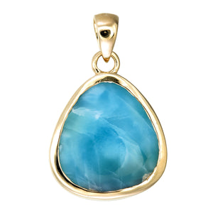 18k Gold Blue Larimar Pendant Unique Fine Jewelry