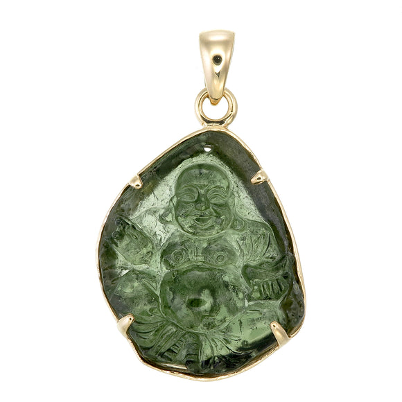 Moldavite Carved Happy Buddha 18k Gold Pendant