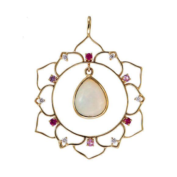 Padma Opal and Sapphire Lotus 18K Gold Pendant