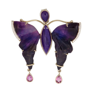18k Gold Sugilite Butterfly