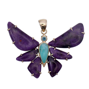 18k Gold Sugilite Butterfly Pendant Necklace