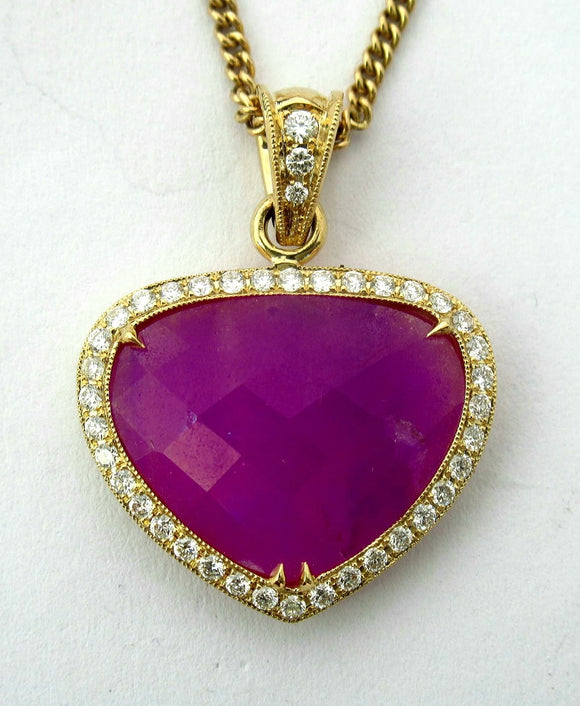 18k Sugilite Pendant with Diamonds
