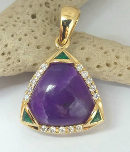 18k gold Sugilite with Diamonds and Emeralds