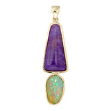 18k Sugilite and Opal pendant