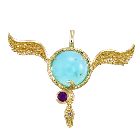 18k Blue Opal 'flying eyeball' pendant