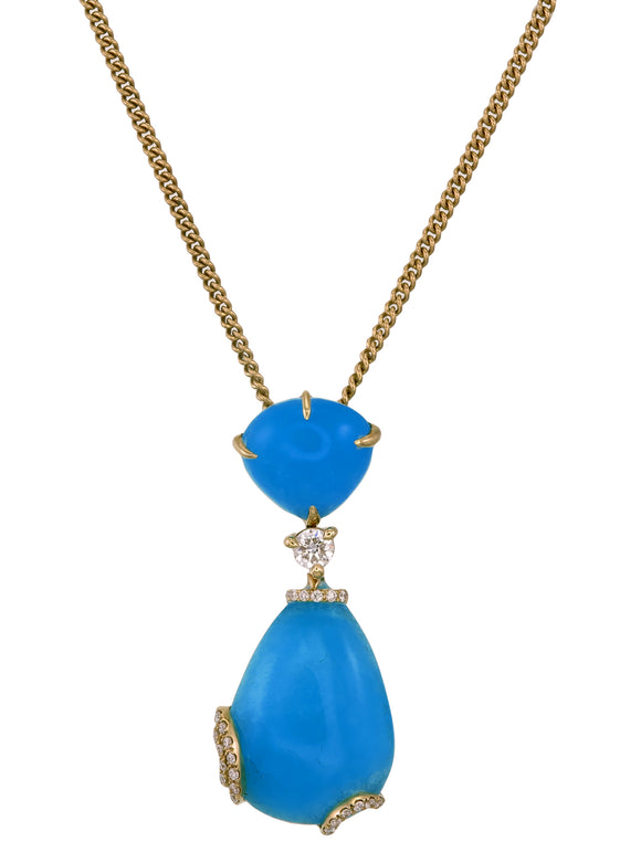 18k Gold Hemimorphite with Diamond Pendant