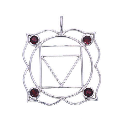 7 Chakras:  Sterling Silver and Garnet Muladhara Root Chakra Pendant - Jai 108 Presents