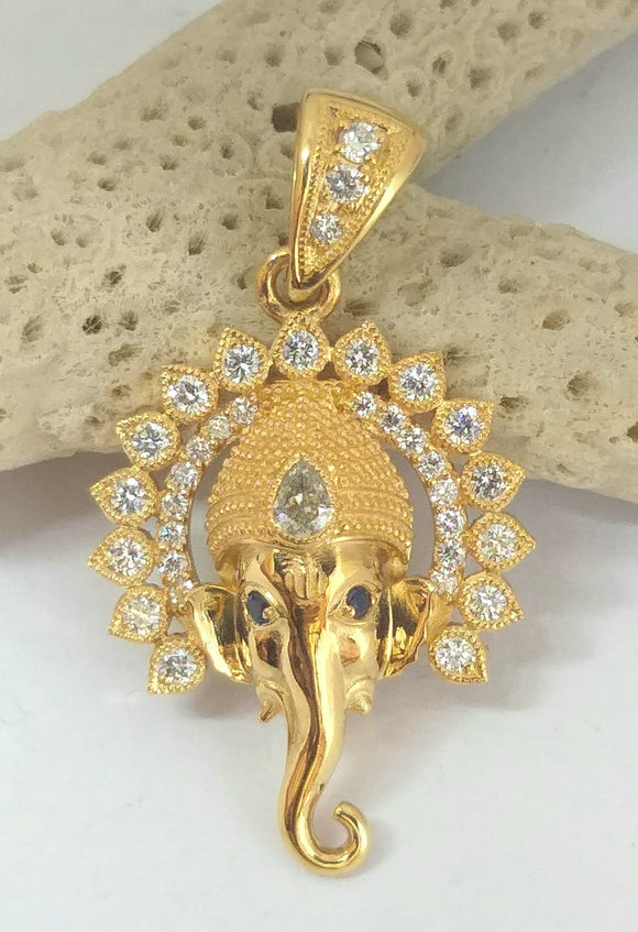 22k gold ganesha pendant with 20 diamonds