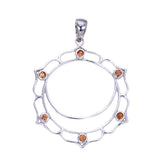 7 Chakras Jewelry:  Sterling Silver and Orange Sapphire Swadhisthana Sacral Chakra Pendant - Jai 108 Presents