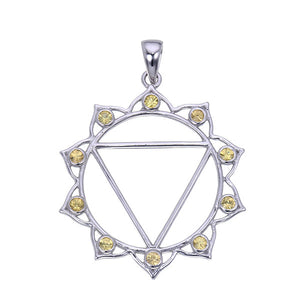 7 Chakras: Sterling Silver and Yellow Citrine Solar Plexus Chakra Pendant - Jai 108 Presents