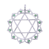 7 Chakras:  Sterling Silver and Tsavorite or Pink Tourmaline Anahata Heart Chakra Pendant - Jai 108 Presents