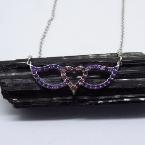 Signature Heart and Wings Necklace Featuring Garnet and Amethyst