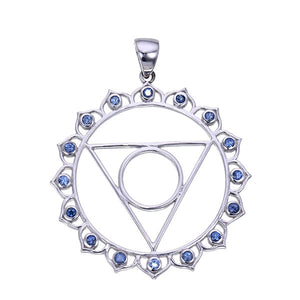 7 Chakras:  Sterling Silver and Blue Sapphire Vishuddha Throat Chakra Pendant - Jai 108 Presents