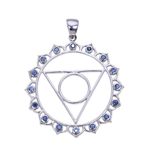 7 chakras sterling silver and blue sapphire vishuddha throat chakra 7 chakras sterling silver and blue sapphire vishuddha throat chakra pendant jai 108 presents aloadofball Gallery