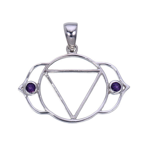 7 Chakras:  Sterling Silver and Amethyst Ajna Third Eye Chakra Pendant - Jai 108 Presents