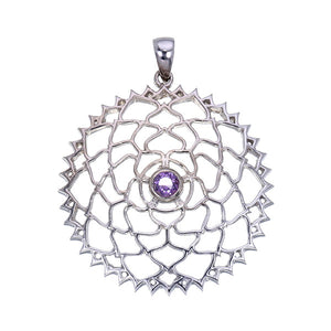 Purple Sapphire Crown Chakra Sterling Silver Pendant
