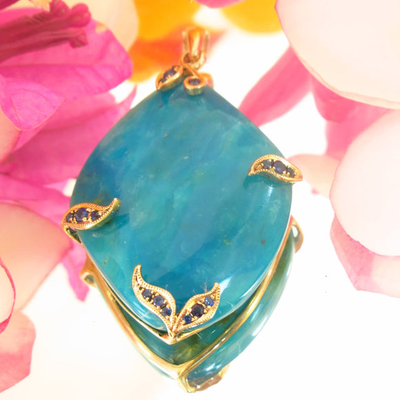 Large 9k Gold Blue Opal/Chrysocolla Pendant