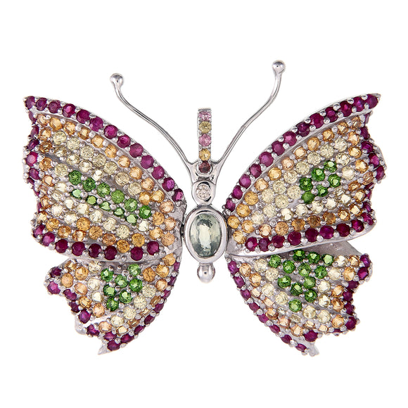 Sterling Silver Butterfly with Ruby, Sapphires and Chrome Diopside...